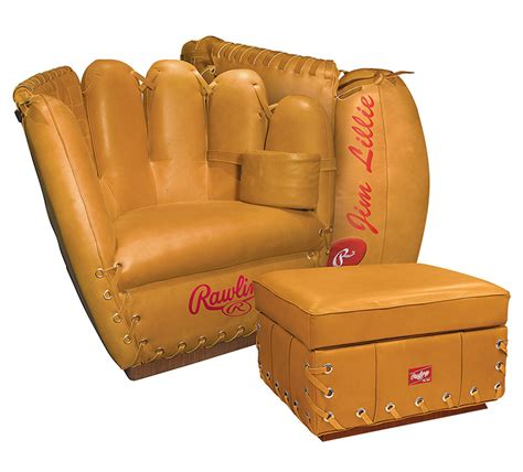 baseball chair and ottoman rawlings leather baseball glove chair the green head