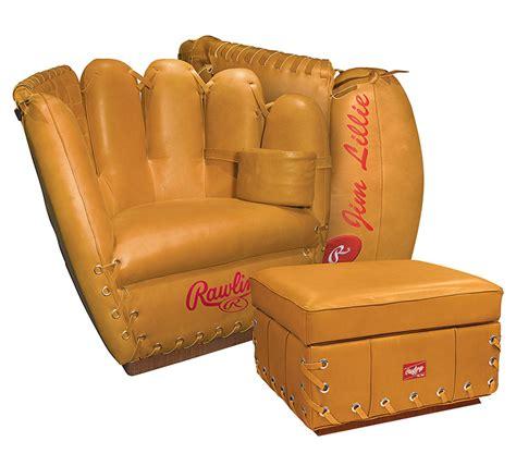 baseball chair and ottoman set rawlings leather baseball glove chair the green head