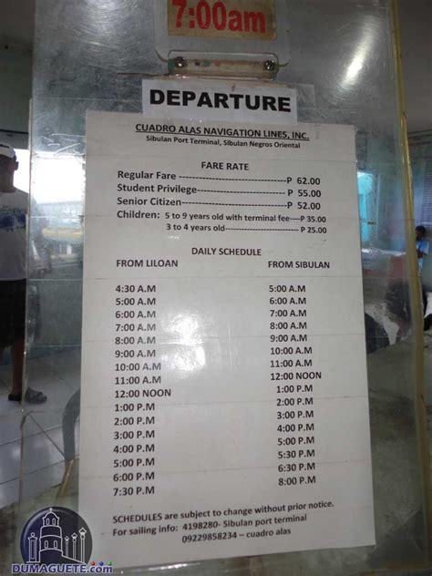 cdo cebu boat schedule ferry schedule liloan sibulan dumaguete
