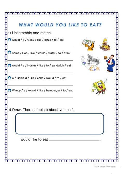 preguntas con would you like i would like to eat worksheet free esl printable