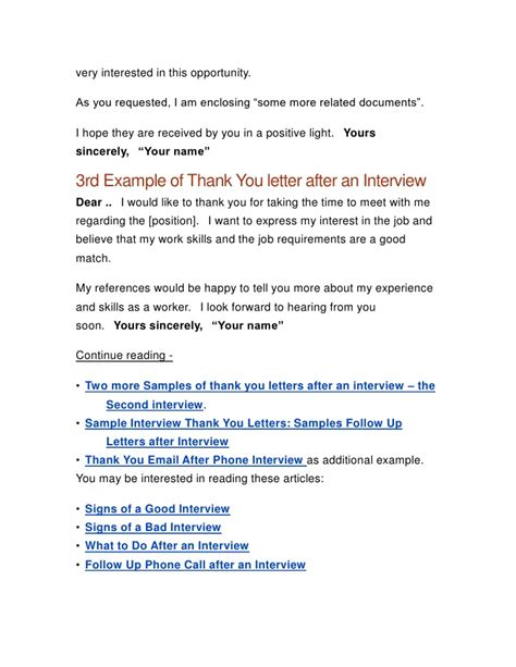 Thank You Letter Not Interested In thank you letter after a