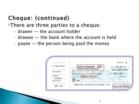 Who Is The Drawer Of A Bank Cheque by Money And Banking