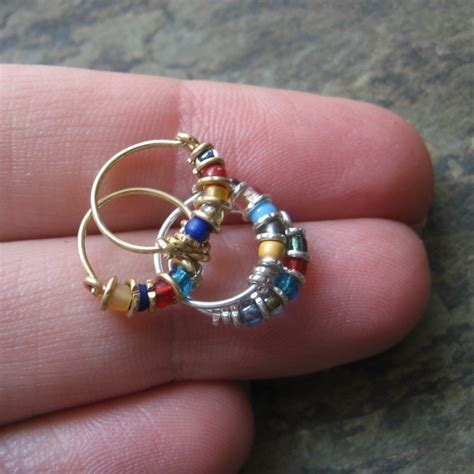 Handmade Nose Rings - bejeweled custom nose ring or single hoop by thebeadedlily