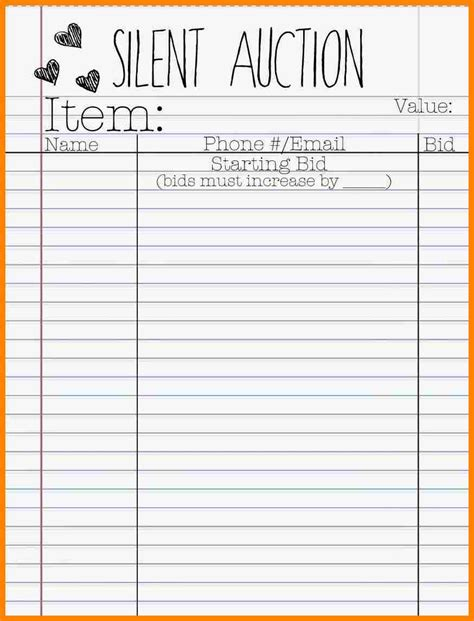 auction spreadsheet template bid sheets template cerescoffee co