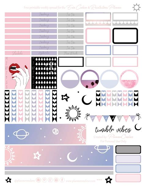 printable planner tumblr free tumblr vibes printable planner stickers for the erin
