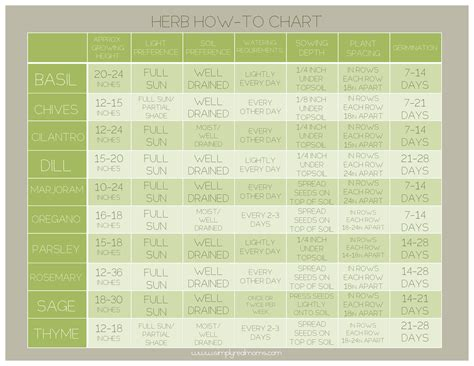 herb care chart herb how to growth chart free printable simply real moms