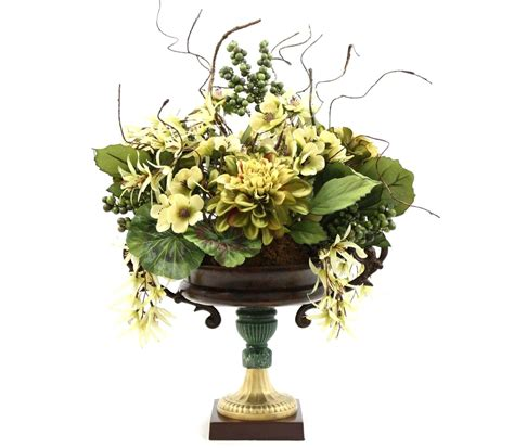 hand made dining table centerpiece silk flower arrangement