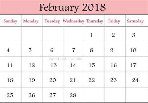 Calendar 2018 February And March February 2018 Calendar Designs Printable