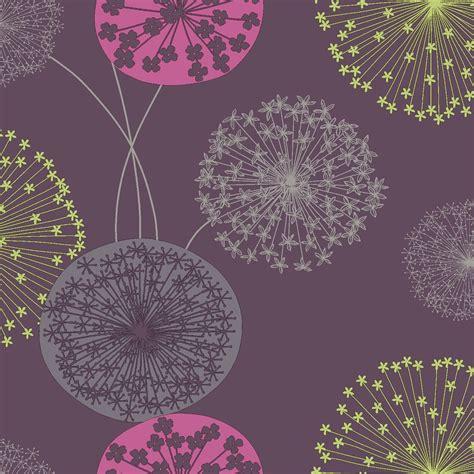 bq lucienne purple floral wallpaper departments diy