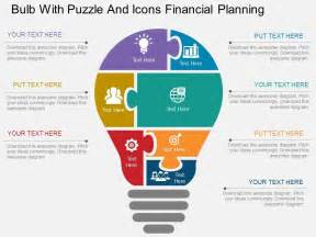 eb bulb with puzzle and icons financial planning flat