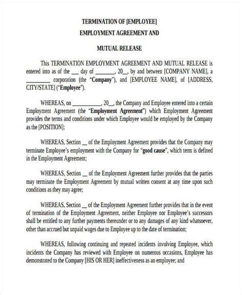 Employment Release Agreement Employment Termination Release Form Free Employment Form Sles Termination And Release Agreement Template