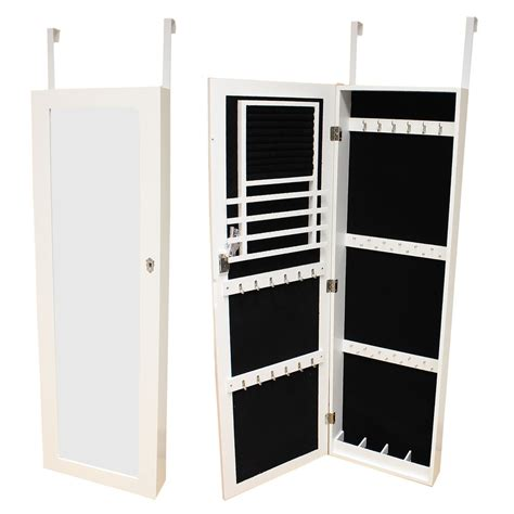 Adhesive Length Door Mirror - large white wall door mounted mirror jewellery box cabinet