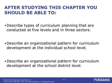 pattern of curriculum organization developing the curriculum chapter 3
