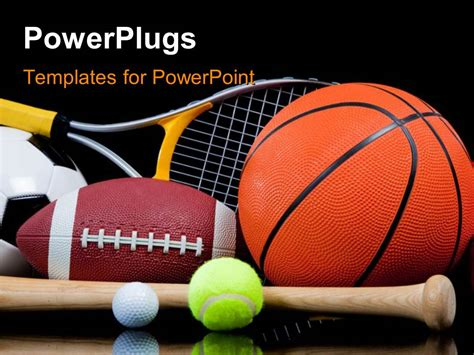 Powerpoint Template Group Of Sports Equipment On Black Background Including Tennis Basketball Sports Powerpoint Templates