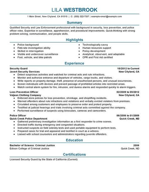 bio exles for law enforcement resume exles for law enforcement resume ideas