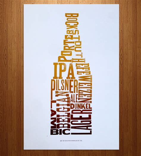 Beer Type Letterpress Print   Art Prints & Posters