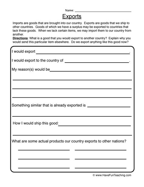 Economics Worksheets For 3rd Grade by Imports Exports Worksheet 2
