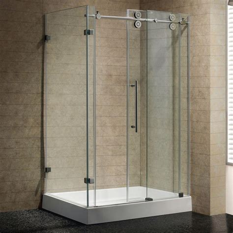 Glass Shower Enclosures With Base Vigo Winslow 48 125 In X 79 875 In Frameless Bypass