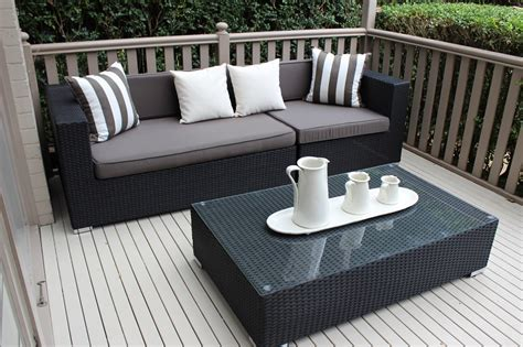 outdoor furniture settings gartemoebe 3 seater wicker outdoor furniture setting black with charcoal cushions