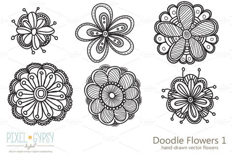 doodle fit flower doodle flowers 1 vector creative flowers and patterns