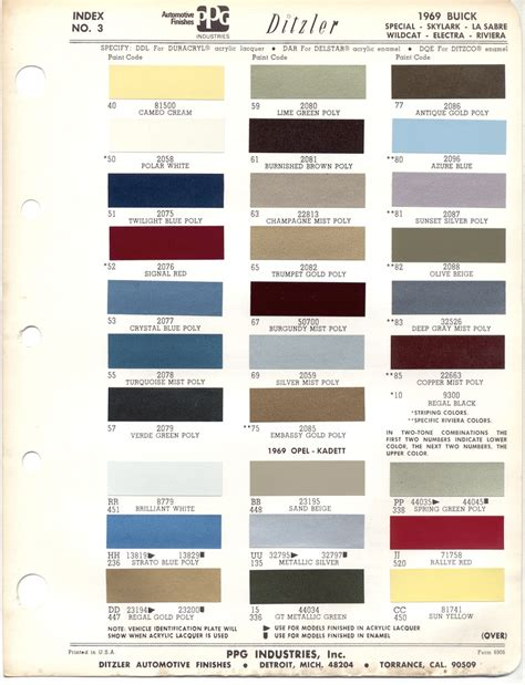 paint chips 1969 buick opel