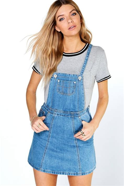 Dress Denim denim pinafore dress boohoo