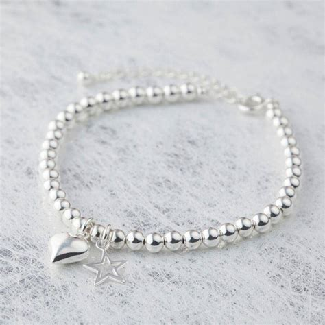 sterling silver beaded bracelet sterling silver bead charm bracelet by vivien j