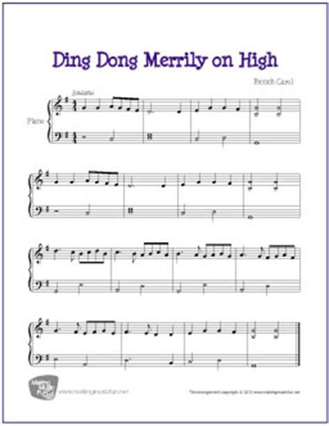 printable lyrics for ding dong merrily on high ding dong merrily on high carol free easy piano sheet