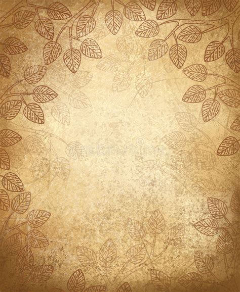 old paper pattern vector vector leaves pattern on old paper background stock