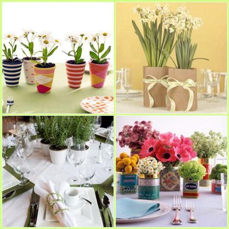 live potted plants as centerpieces