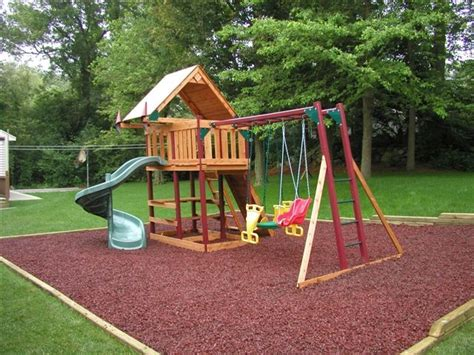 Backyard Playset Ideas Xeriscaping And Custom Residential Landscaping Rubber Mulch It Or It