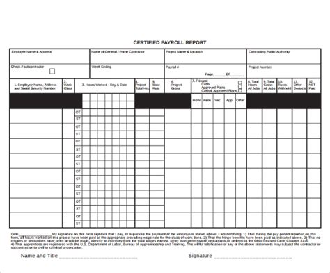 8 Blank Payroll Form Templates Sle Templates Certified Payroll Template