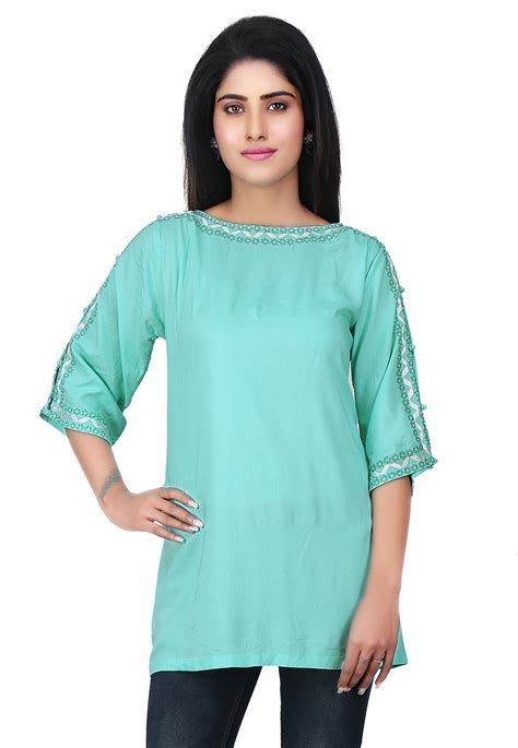 Tunik Rayon 1 embroidered neckline rayon tunic in turquoise thu1789