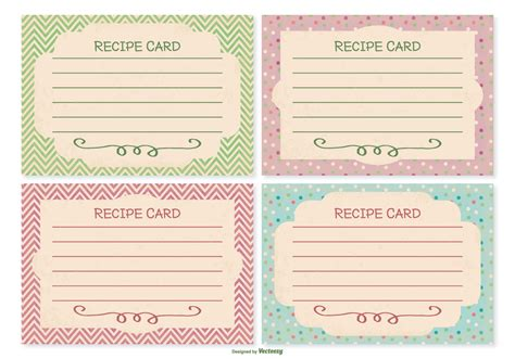 Pink Retro Kitchen Collection Retro Style Recipe Card Set Download Free Vector Art