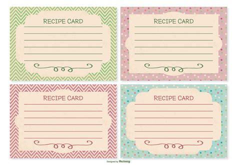Recipe Card File Template by Retro Style Recipe Card Set Free Vector