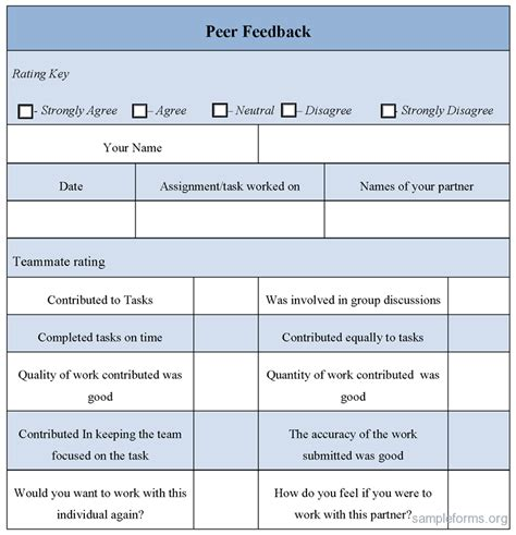 coaching review template peer feedback form sle peer feedback form sle forms