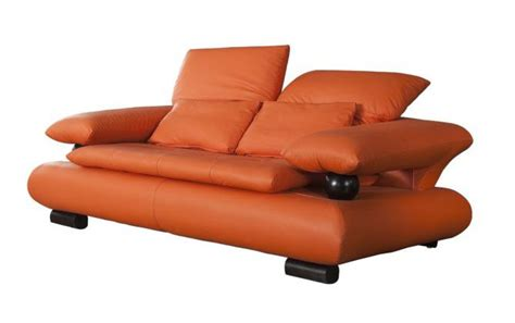 orange leather loveseat loveseat in orange leather with wenge wood finished accent