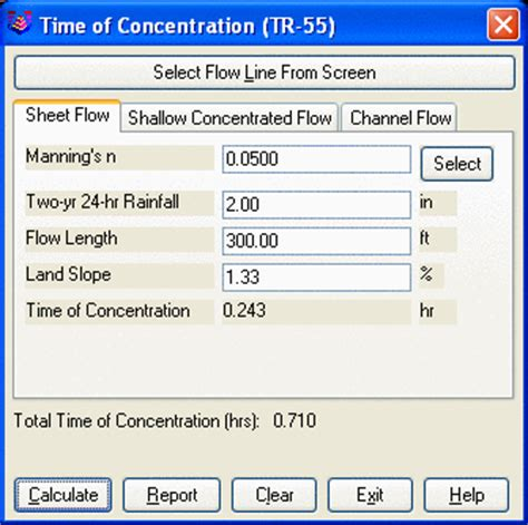 Tr 55 Spreadsheet by Time Of Concentration Tr 55