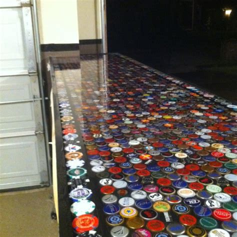 bottle cap bar top in our garage garage bar for the