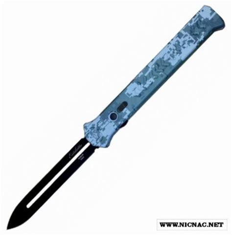 automatic opening stiletto pocket knife asheville steel paragon knives camo estiletto 13 5 in sw