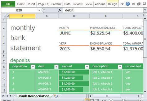 excel bank statement template monthly bank reconciliation template for excel