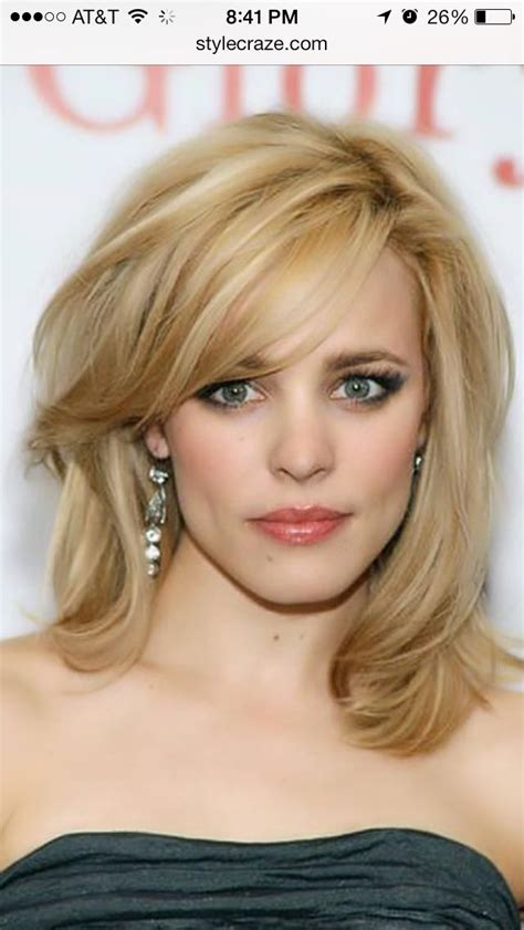 rachel thinning hair rachel mcadams midlength golden blonde hair with bangs