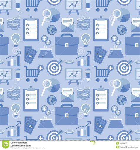 background pattern business vector flat seamless pattern with business icons stock