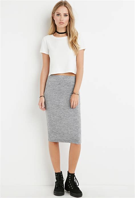 forever 21 heathered bodycon pencil skirt in gray