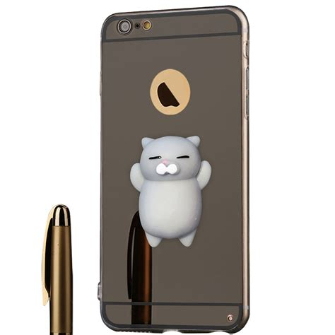 Mirror Silicon For Iphone 3d cat squishy soft silicone mirror phone cover