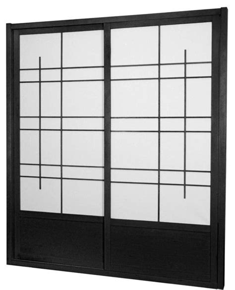 Asian Closet Doors 7 Ft Eudes Shoji Sliding Door Kit Sided Black Asian Interior Doors By