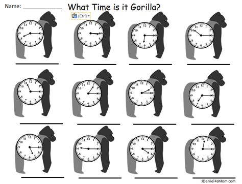 printable judy clock what time is it gorilla telling time worksheets