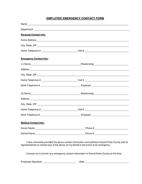 emergency contact form template employee emergency contact printable form pictures to pin