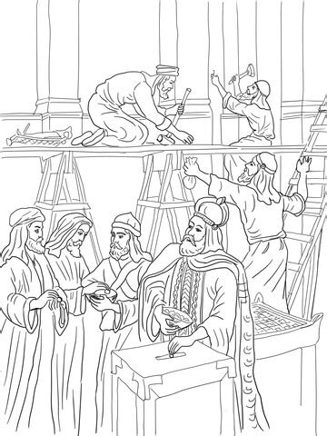 coloring pictures of king joash joash repairs the temple coloring page free printable