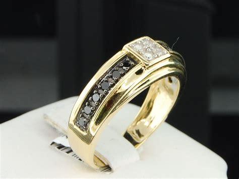 mens diamond wedding ring 10k yellow gold engagement band 1 4 mens 10k yellow gold black white diamond engagement ring